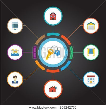 Flat Icons Hypothec, Depot, House And Other Vector Elements