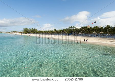The crystal clear water on Grand Turk island beach (Turks and Caicos Islands).