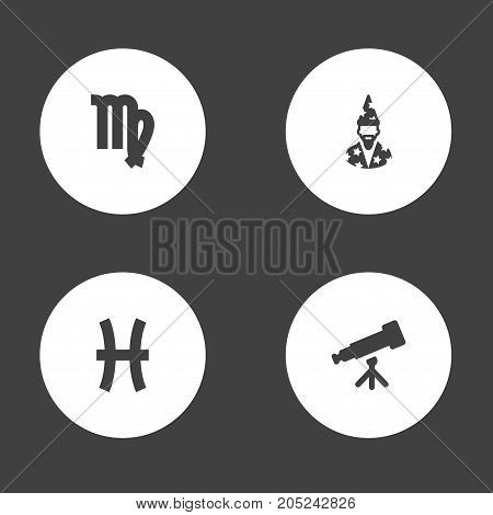 Collection Of Binoculars, Virgin, Fishes And Other Elements.  Set Of 4 Astronomy Icons Set.