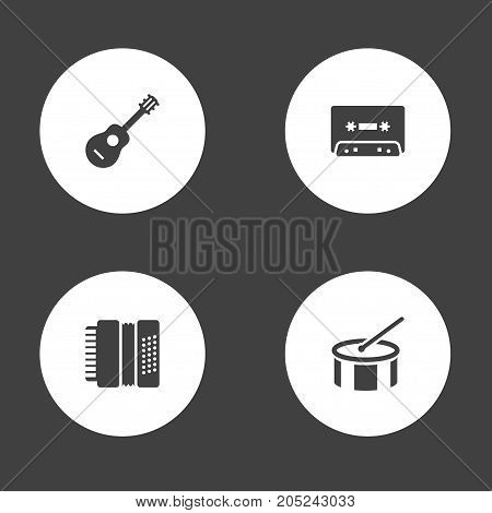 Collection Of Tape, Acoustic, Harmonica And Other Elements.  Set Of 4 Melody Icons Set.