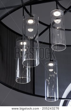 Led Chandelier With Round Glass Lampshades