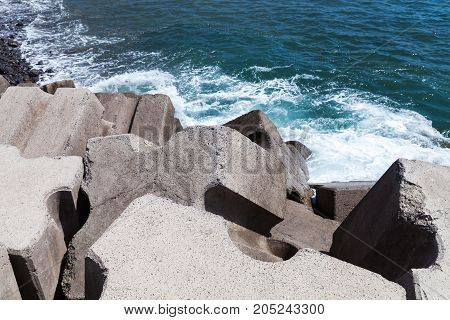 Massive Concrete Blocks As A Part Of Breakwater