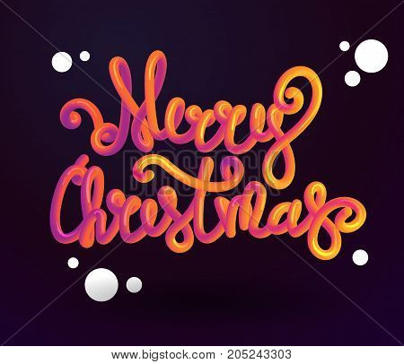 Merry Christmas 3d lettering . Xmas placard cover design. Stock vector illustration Merry Christmas font with letters. Bubble font with glint. Futuristic styl vector 10 EPS.