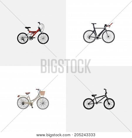 Realistic Competition Bicycle, Extreme Biking, Adolescent And Other Vector Elements