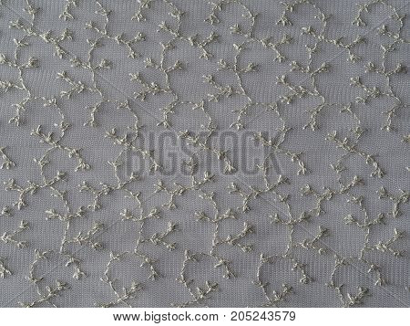 Old Fashion Gentle Silver Lace With Vegetable Ornaments Textured Background