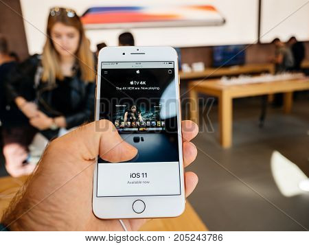 New Iphone 8 And Iphone 8 Plus In Apple Store With Apple Tv 4K,