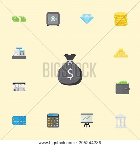 Flat Icons Bank, Till, Ingot And Other Vector Elements