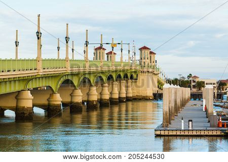 View of the Bridge of Lions and pier from the shore Saint Augustine USA