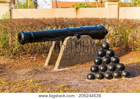 The sculpture of cannon and cannonballs in Saint Augustine USA