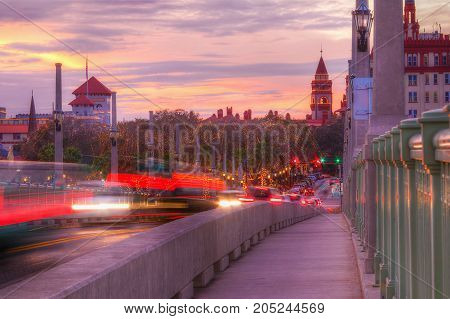 Beautiful view of the Bridge of Lions the sky and the city at sunset Saint Augustine USA
