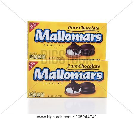 IRVINE CA - SEPTEMBER 22 2017: Two boxes of Mallomars Cookies. Nabisco Mallomars were introduced to the public in 1913 and are generally available from early October to April.