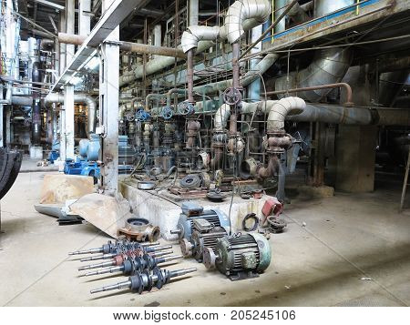 Electric Motor Water Pump Under Repair At Power Plant