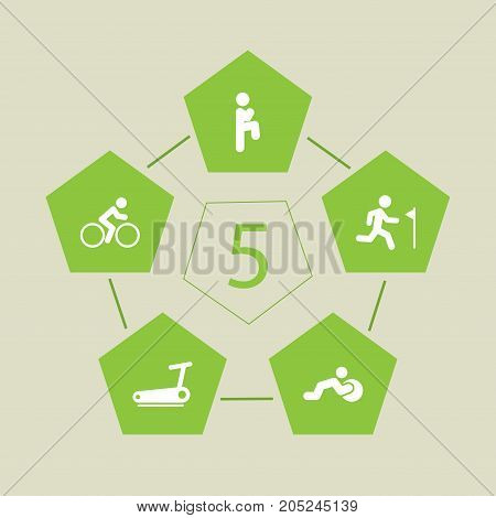 Collection Of Squat, Stability Ball Exercise, Treadmill And Other Elements.  Set Of 5 Fitness Icons Set.