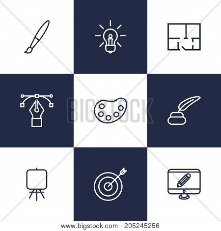 Collection Of Target, Inkwell With Pen, Paintbrush And Other Elements.  Set Of 9 Creative Outline Icons Set.