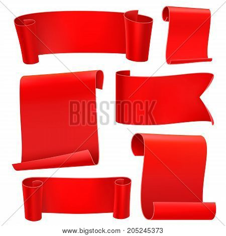 Red tapes template set. Curled paper ribbons. Ancient papyrus collection. Vector illustration.