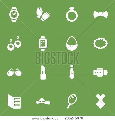 Collection Of Clock, Strap, Handbag Elements.  Set Of 16 Decorating Icons Set.