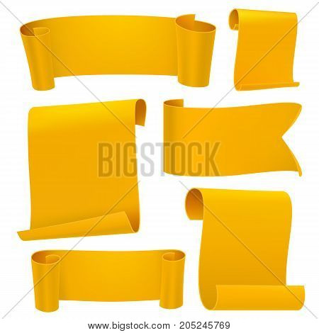 Yellow tapes template set. Curled paper ribbons. Ancient papyrus collection. Vector illustration.