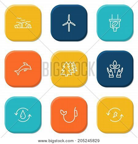 Collection Of Garbage, Fuel, Renewable Energy And Other Elements.  Set Of 9 Atmosphere Outline Icons Set.