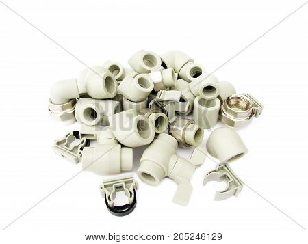Set of parts for plumbing. Plastic products for plumbing