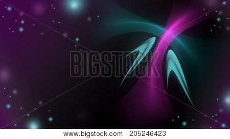 Abstract bright wave on the dark background. curl motion design. Colorful energy horizontal layout banner. shiny curl element. Modern bright colors.