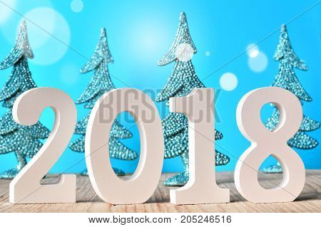 New year. New 2017. happy new year. 2018 numbers on blue background