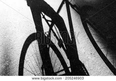 shadow of a bicycle and a bicyclist on the asphalt black and white