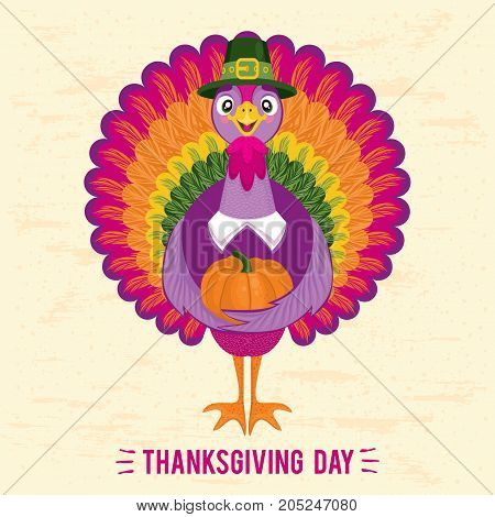 Thanksgiving Day greeting card with cute happy cartoon of turkey bird. Can be use as flyer, poster or banner