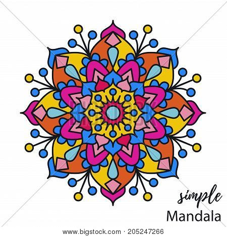 Colorful doodle indian simple mandala vector illustration