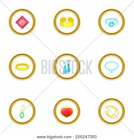 Bijou icons set. Cartoon style set of 9 bijou vector icons for web design
