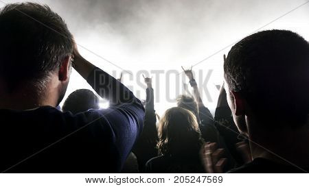 a crowd shadow of people at during a concert