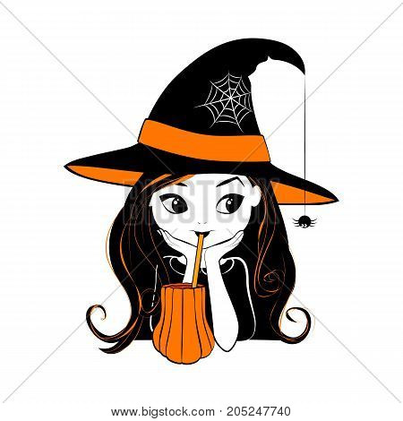Halloween witch vector illustration isolated on white background. Cartoon cute little witch with pumpkin drink and little spider. Halloween card in black, white and orange colors.