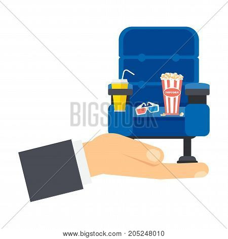 Hand With Blue Cinema Seat
