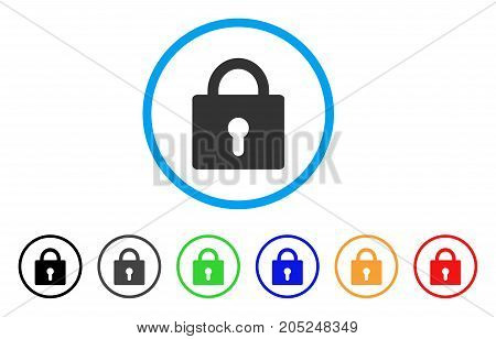 Lock rounded icon. Style is a flat lock gray symbol inside light blue circle with black, gray, green, blue, red, orange color versions. Vector designed for web and software interfaces.