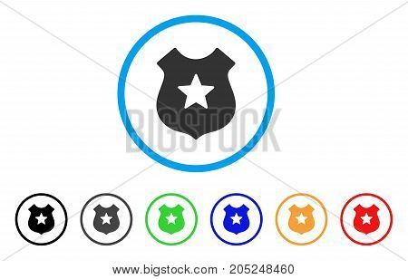 Police Shield rounded icon. Style is a flat police shield grey symbol inside light blue circle with black, gray, green, blue, red, orange variants. Vector designed for web and software interfaces.