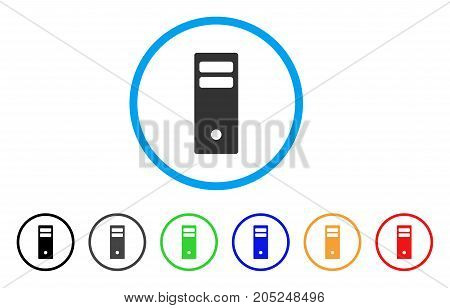 Server Mainframe rounded icon. Style is a flat server mainframe gray symbol inside light blue circle with black, gray, green, blue, red, orange variants.
