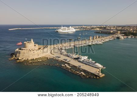 Fort of St. Nicholas in Rhodes. Aerial view