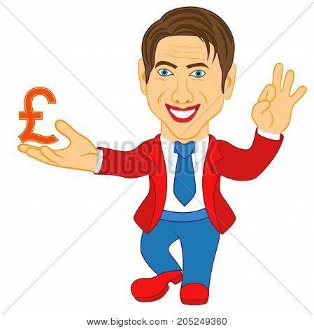Men Holds A Pound Symbol