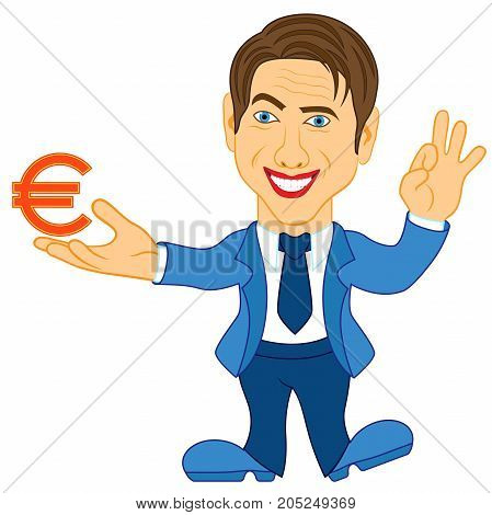 Men Holds A Euro Symbol