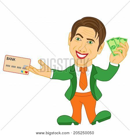 Men Holds The Dollar Bills And Credit Card