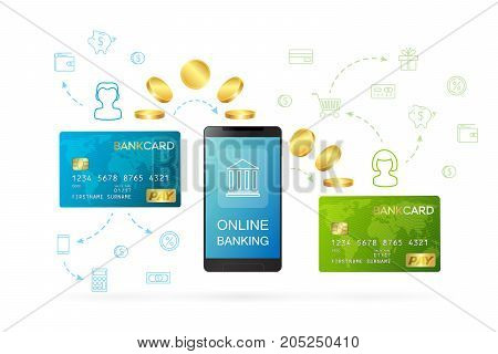 Money transfer or online banking conceptual vector illustration. Process of sending money from one persons bank card to another person's bank card using online banking