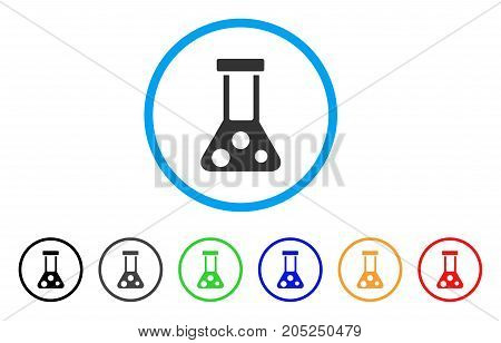 Chemical Flask rounded icon. Style is a flat chemical flask gray symbol inside light blue circle with black, gray, green, blue, red, orange variants. Vector designed for web and software interfaces.