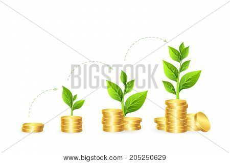 Money growth concept. Vector illustration of coins stacks with green trees in progress