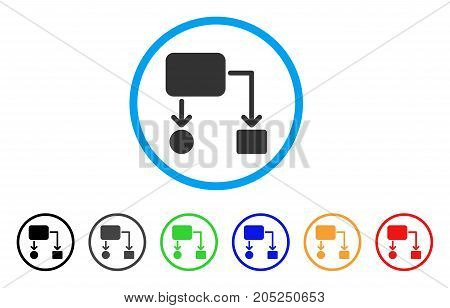 Flow Chart rounded icon. Style is a flat flow chart gray symbol inside light blue circle with black, gray, green, blue, red, orange variants. Vector designed for web and software interfaces.