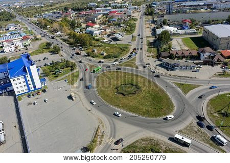 Tyumen Russia - September 2 2017: Aerial view onto Scherbakova and Veteranov Truda streets intersection