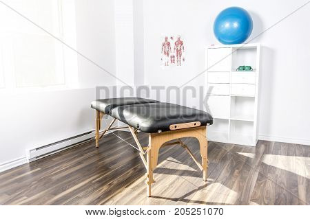An interior of rehabilitation gym, with equiment