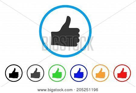 Thumb Up rounded icon. Style is a flat thumb up gray symbol inside light blue circle with black, gray, green, blue, red, orange versions. Vector designed for web and software interfaces.
