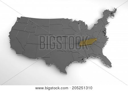 United States of America, 3d metallic map, with Tennessee state highlighted. 3d render