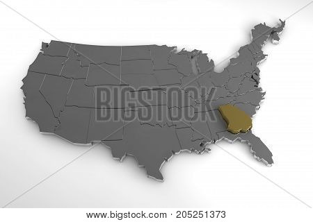 United States of America, 3d metallic map, with Georgia state highlighted. 3d render
