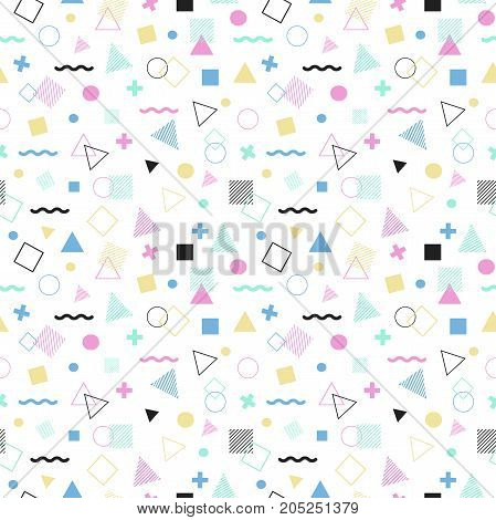 Geometric seamless pattern color style consisting of line geometric different shapes and lines. Colorful geometric seamless pattern. Hipster memphis style.