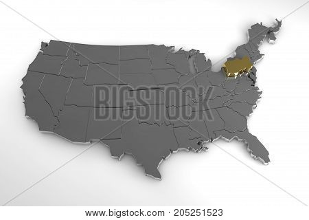 United States of America, 3d metallic map, with Pennsylvania state highlighted. 3d render